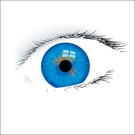 Closeup of an open blue eye isolated.