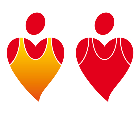 Sportive two heart icon isolated. Simple vector.
