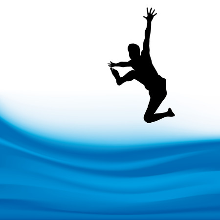 Silhouette of a man jumping over the waters.