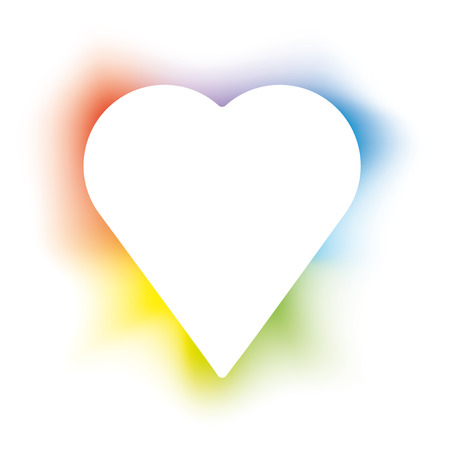 Isolated burning heart with backlight in colors.