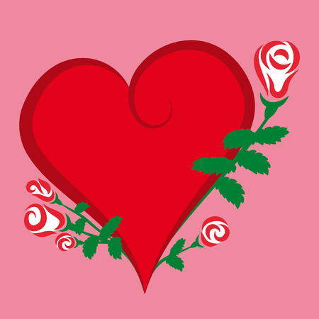 Red heart icon with roses. Flat style.