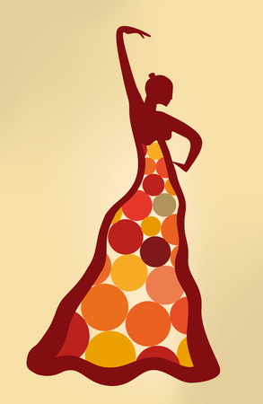 Surreal artistic illustration of flamenco dancer. Dot dressed. Ilustração