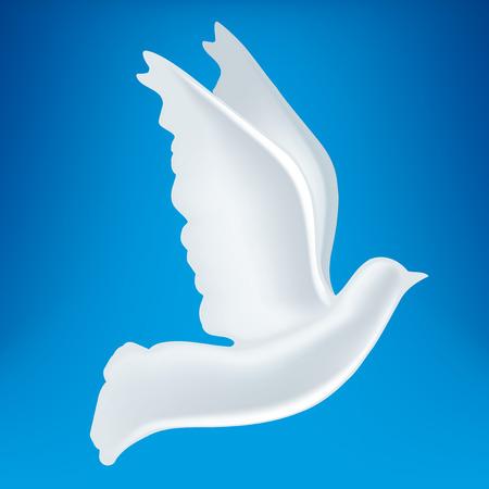 3D illustration of white peace dove symbol. Ilustração