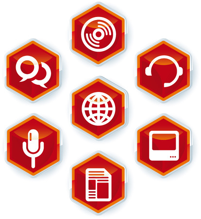 Set of seven media icons on hexagons. 向量圖像