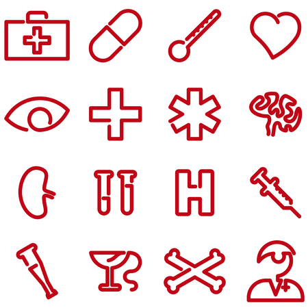 Sixteen medical icon set. Single line style.