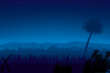 Vector illustration. Night landscape with palm tree and city at the background.