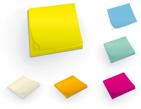 Sticky 3D blocks in six different colors.