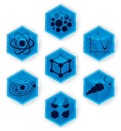 Set of science icons on 3D hexagons. 向量圖像