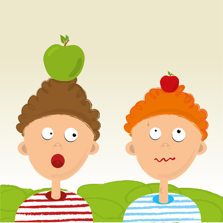 Two kids with apples on their heads. William Tell tale. Illustration