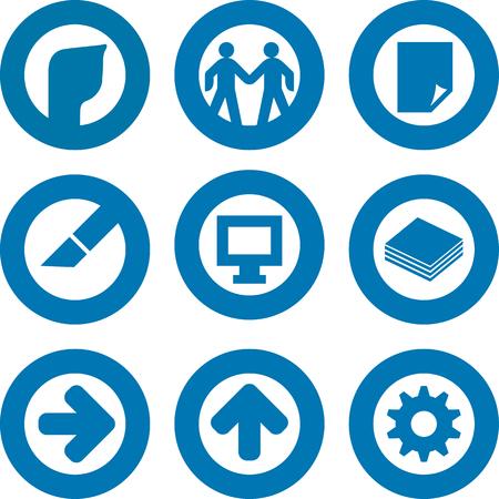 Set of nine printer icon in blue. Round by circle. Иллюстрация