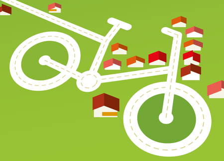 vector illustration. Landscape concept of bicycle neightbour with houses and roads.