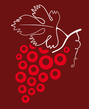 Grape symbol in red tones with leaf in white.