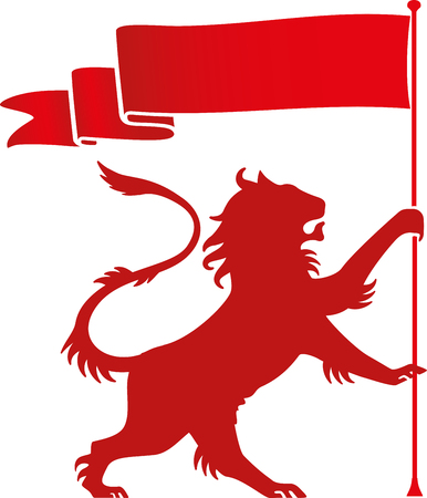 Heraldic ramping lion icon in red. Geometric forms.