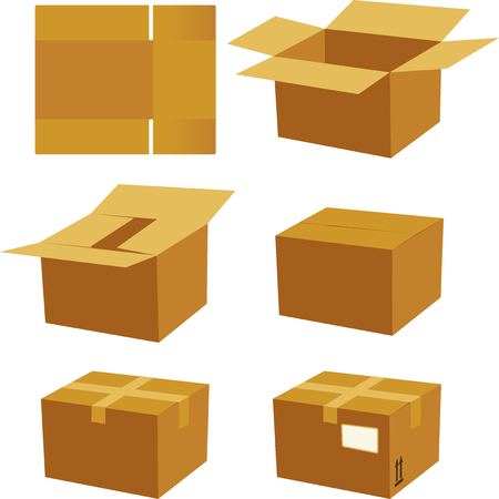 Vector illustration. Cardboard box process for mounting and send.