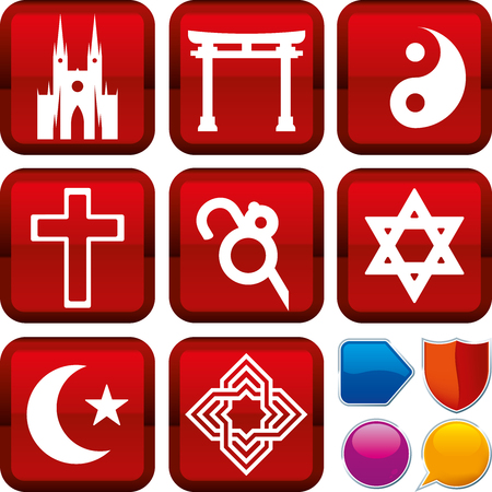 Set of religion icons on square buttons. Geometric style. Illustration