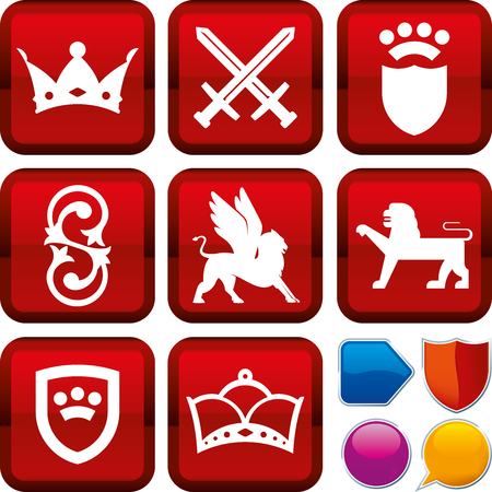 Set of medieval icons on square buttons. Geometric style. Standard-Bild - 124065279