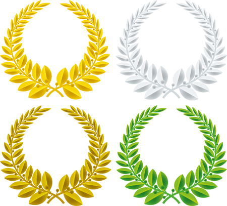 Geometric set of laurel wreath symbol isolated. Various colors. Illustration