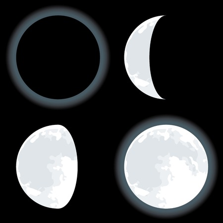 Lunar phases. Four moon positions in the sky.