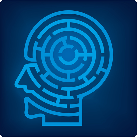 Icon of maze head. Single path maze in blue. Isolated.