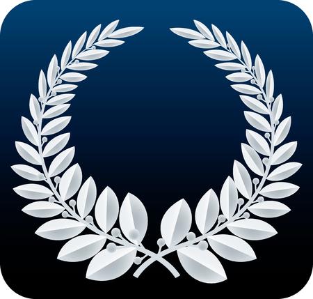 Geometric laurel wreath symbol isolated. Color silver.
