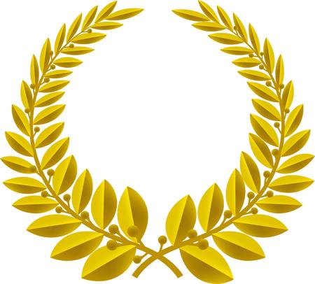 Símbolo geométrico de la corona de laurel aislado. Color bronce.