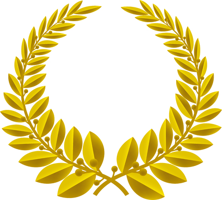 Geometric laurel wreath symbol isolated. Color bronze.
