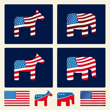Icônes politiques des États-Unis sur les boutons. Styles dégradés et plats.