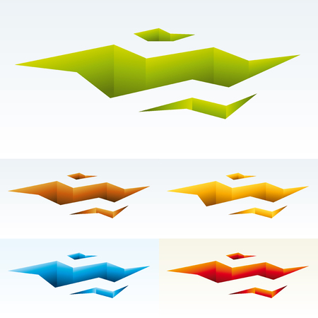 Vector illustration. Fractured land icon in various colors. 3D effect.