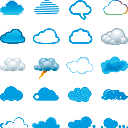 Twenty cloud icons in different shapes and styles.