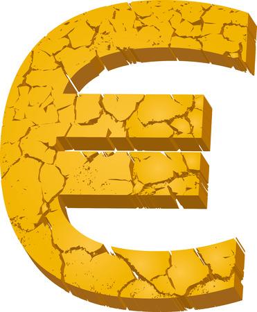 Vector illustration. Symbol of euro cracked as dry mud. Illustration