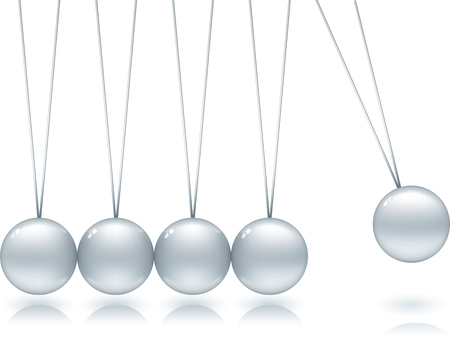 Shiny and soft Newton cradle in movement. Illustration