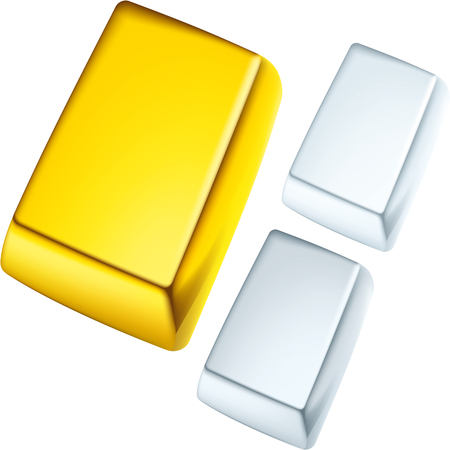 Noble metal bars. Gold, silver and platinum. Stock Illustratie