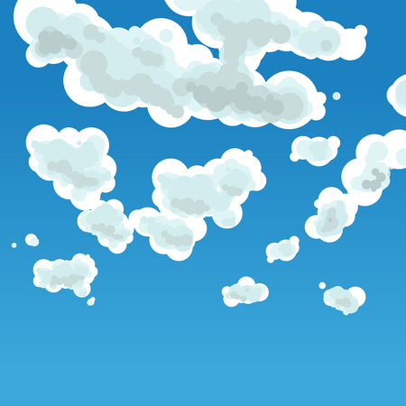 Vector illustration. Cloudy sky background. Volume by color gradations.
