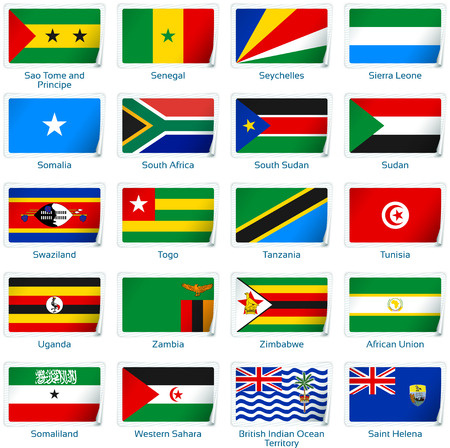 Set of twenty flags in sticker style. Africa three of three.