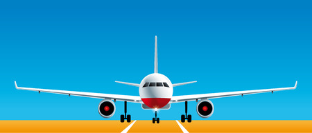 Realistic front view of landing airplane on airport pista. Illustration