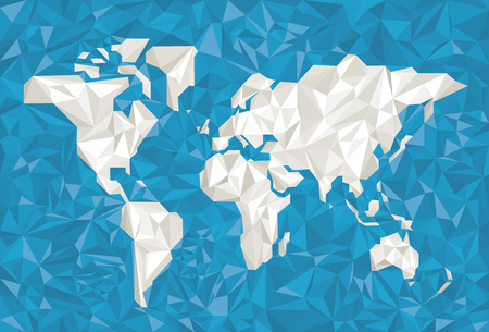 Vector illustration. World map in white in crumpled paper style.