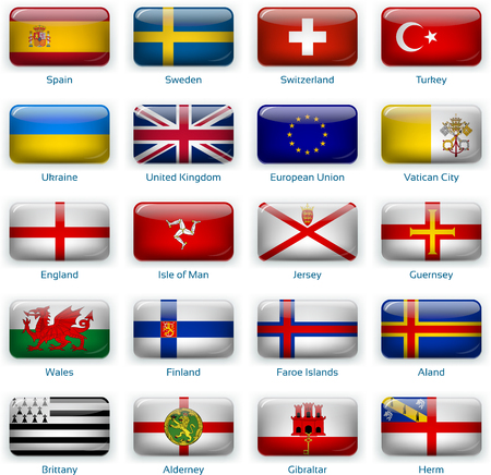 Set of twenty flags in button style. Europe three of three.
