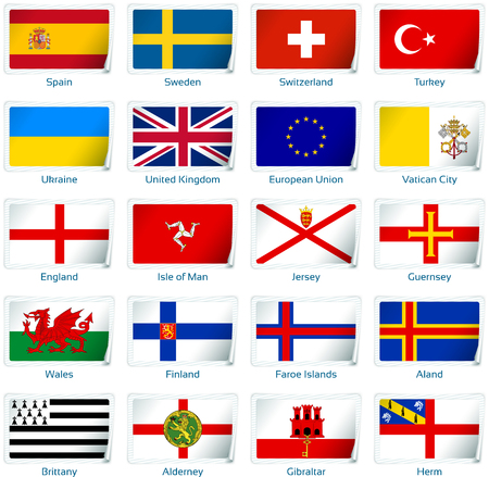 Set of twenty flags in sticker style. Europe three of three.