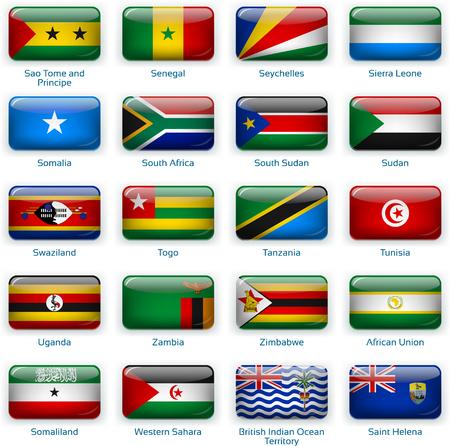 Set of twenty flags in button style. Afria three of three. Иллюстрация