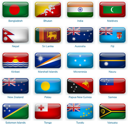Set of twenty flags in button style. South Asia and Oceania.