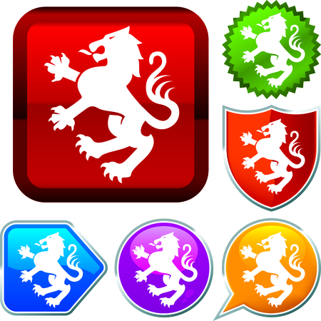 Set shiny icon series on buttons. Heraldic.