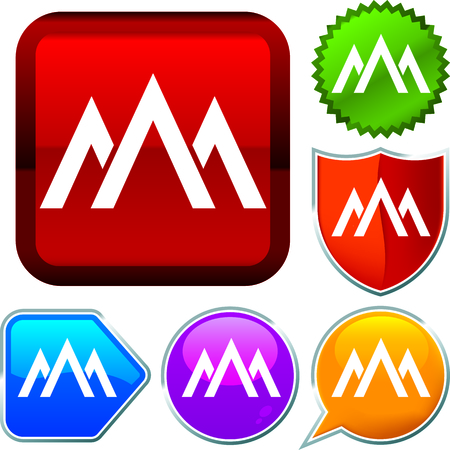 Set shiny icon series on buttons. Mountain.