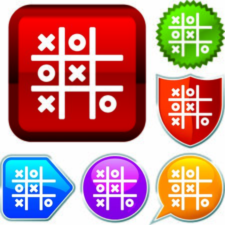 Set shiny icon series on buttons. Tic tac toe. Stok Fotoğraf - 125880443