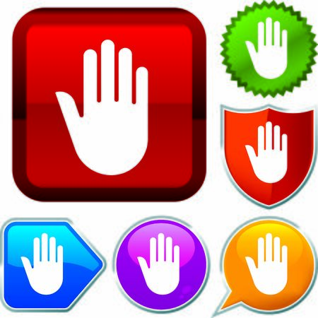 Set shiny icon series on buttons. Stop hand. Stock Vector - 125880505