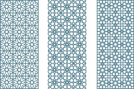 Three arabesque geometric seamless jaulosies in flat and clean style. Ilustração