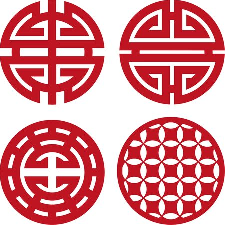 Four chinese coaster for laser cutting or ploter. Ilustrace