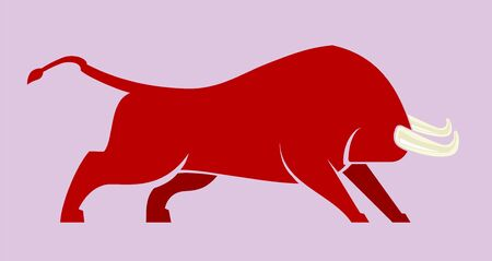 Vector illustration. Brave bull icon in flat and clean style. Isolated.