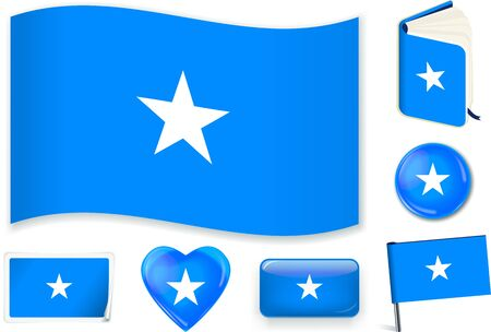 Somalian flag in seven shapes. Editable and separate layers.