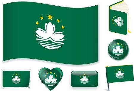 Macau flag wave, book, circle, pin, button, heart and sticker. Иллюстрация
