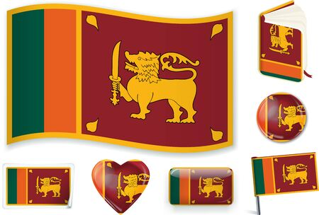 Sri Lanka flag wave, book, circle, pin, button, heart and sticker.